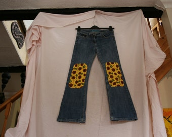 Upcycled Next Jeans, with sunflower knee patches