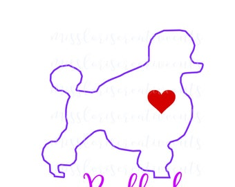 Poodle Love SVG   cut file  t-shirts  Dog car decalscrapbook vinyl decal wood sign cricut cameo Commercial use