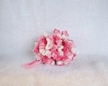 Pink and White Crochet Pouf Bath Pouf Bath Sponge Bath Scrubbie Cotton Pouf Shower Loofah Shower Puff