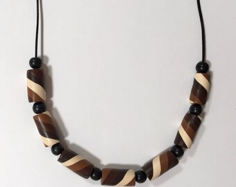 Cylinder Bead Necklace, Chocolate Swirl, Polymer Clay, Shades of Brown
