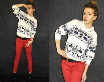 SALE SALE SALE Vintage sweater / Etno pattern Sweater / Pattern sweater / white Sweater / Collar sweater / Petite, S M