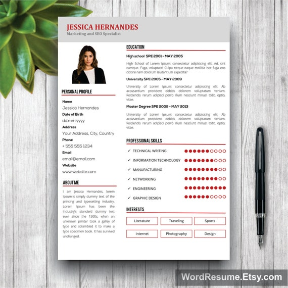 clean resume template cv template modern resume template curriculum vitae resume format design instant cv download - Resume Format Design