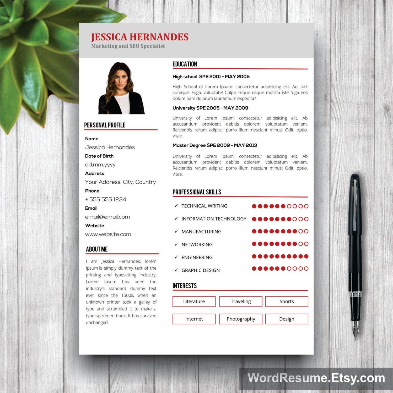 clean resume template cv template modern resume template