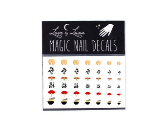 Chinese Nail Decals / Japanese Nail Decals / Asian Nail Decals / Dragon Nail Decals / Sushi Nail Decals / Chinese New Year Nail Decals