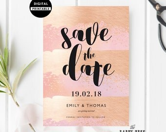 Save the Date Invitation , Save the Date Gold and Blush Invite , Wedding Invite , Printable Invitation , 5x7 , A6 , Modern Wedding
