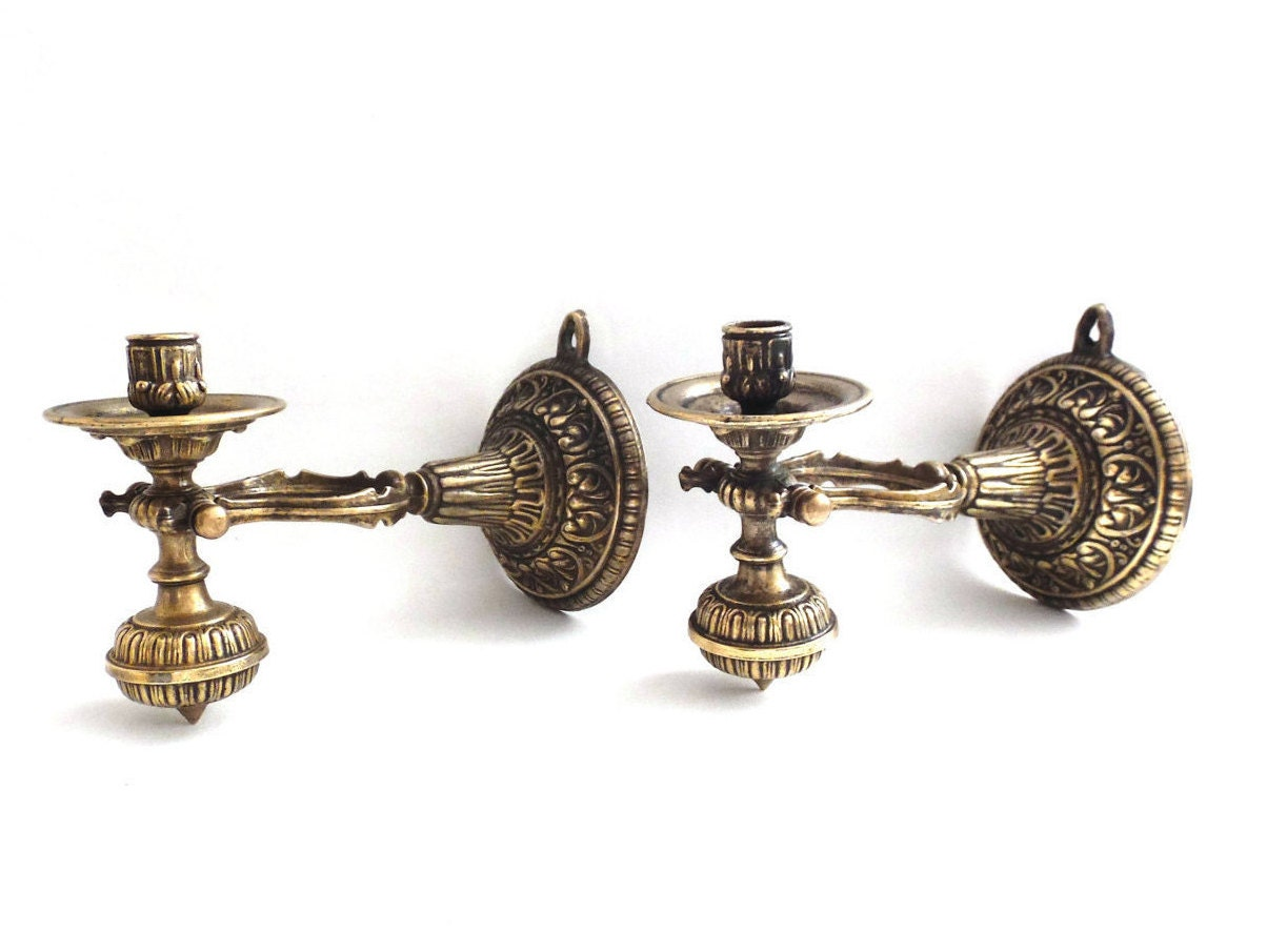 Nautical Brass Wall Sconces : Nautical Sconces / Pair Antique Solid Brass Nautical Sconce