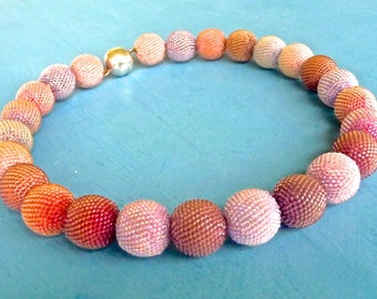 Beaded Bead Necklace – Rose lilac amethyst