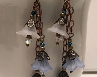 Earrings ~ Victorian ~ Long Dangle ~ Blue & White Lucite Flowers ~ Swarovski Crystals ~ Antiqued Copper ~ Wire Wrapped ~ Gift Boxed