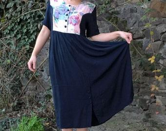 SALE 30% OFF Romantic dress 1980's Empire dress silhouettes Navy blue dress Vintage 1980's High waist Floral print Midi