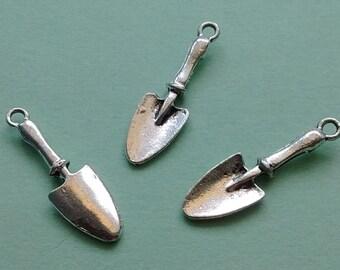 7 pc Trowel Shovel Charm - Silver Gardening Trowel - CS2284