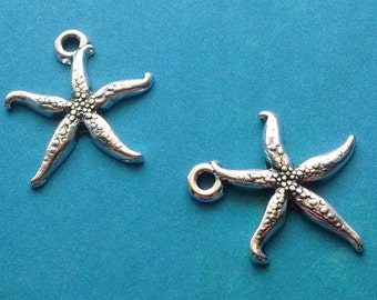 10 pc Starfish Charm Silver - CS2355