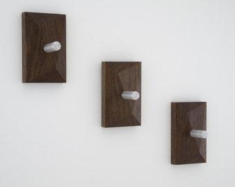 Modern Coat Hooks | PEDICEL Wall Hooks | Hand Planed Solid Walnut & Aluminum