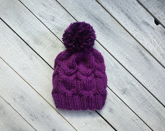 Purple Owl Cable Baby Hat, Infant Girl Winter Stocking Hat, Woodland Baby Clothes, Baby Shower Gift, Big Pom Baby Hat, Newborn Knit Baby Hat