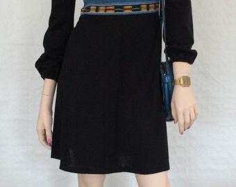 Dress / boho chic / Renaissance sleeves, high waist / waist / black / piping / inserts / strips / vintage / 1970s / size: XS