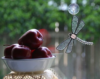 Stained Glass Dragonfly Suncatcher in Silver and White