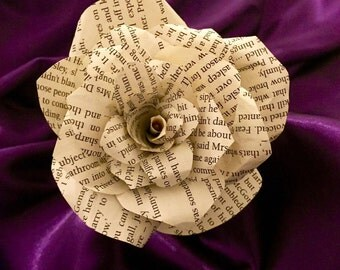 Handcrafted rose made from Harry Potter book pages
