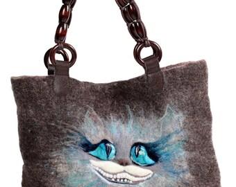 Cheshire Cat felt bag