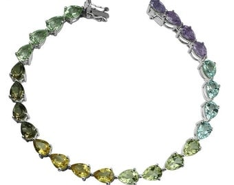 Multiple Gemstone in 925 Sterling Silver 7.25 Inch Tennis Bracelet GSB101