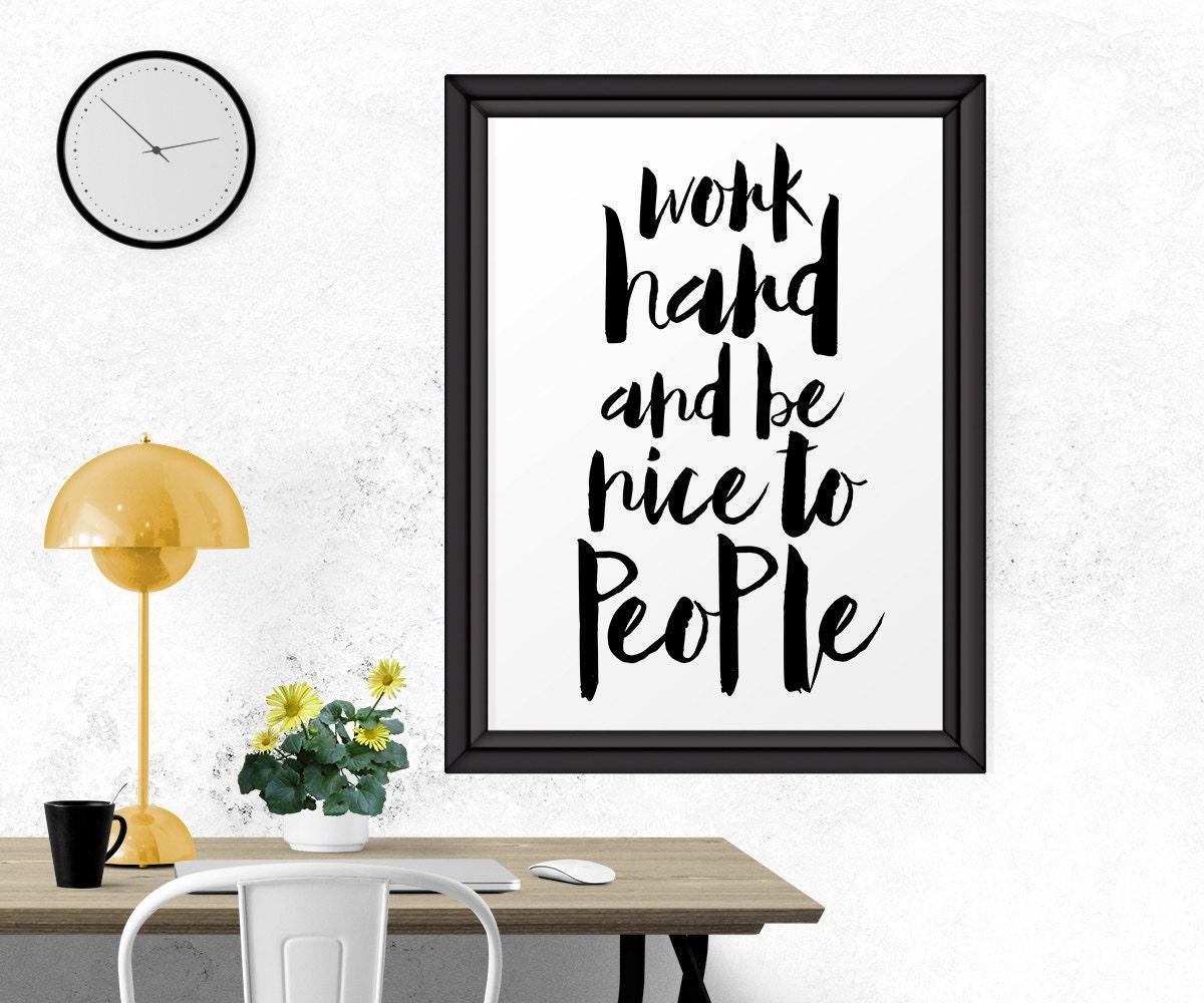 motivational print work hard home d cor office wall decor. Black Bedroom Furniture Sets. Home Design Ideas