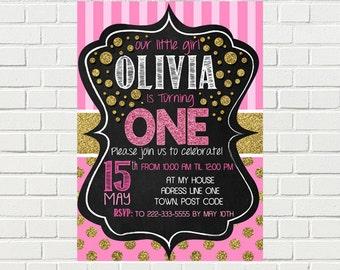 Pink and Gold Birthday Invitation| Polka dot - Stripes 1st Birthday Invite | Gold Glitter Pink  | DIGITAL FILE - PRINTABLE