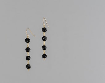 Black pavé crystal earrings