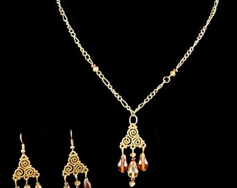 Triskele Earrings and Necklace Set - Celtic - Geeky Jewelry - Antique Bronze - Glass beads - Teardrop - Pendant - Teen Wolf - Gift for Her
