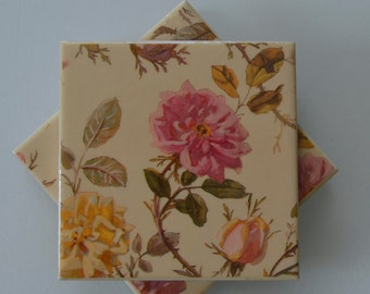 Hand-Crafted Ceramic Tile Coasters - Kitchen Coasters,Drink Coasters,Gift Coasters,Tile Coasters,Beverage Coasters,Vintage Roses