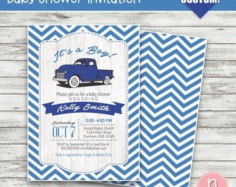 Vintage Truck Baby Shower Invitation, Pick Up Truck Invitation, It's a Boy!, Truck Invitation, Blue Truck, Baby Shower - Printable