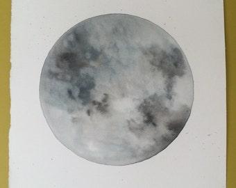 Original Moon Watercolour | Painting | Space Art | Grey | Full Moon | Solar Art | Lunar Art | Astronomy Art | Home Decor |Wall Art