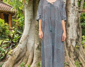Tassel Kaftan, Caftan, Loose Dress, Tunic, Beach Coverups, Loungewear, Blue Kaftan, 111-101