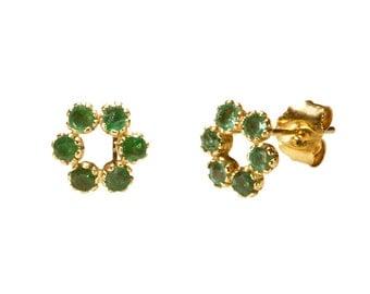 vintage Emerald earrings,vintage stud earrings,Emerald earrings,Emerald stud vintage earrings, Gold vintage earrings, 14k gold earrings