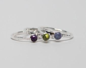 Tanzanite, Peridot and Amethyst stacking ring set in sterling silver * Hammered stacking rings