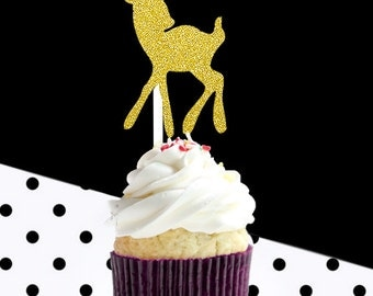 12 gold glitter baby deer cupcake toppers, glitter party decoration,company party,birthday party,gold glitter cupcake topper,baby shower