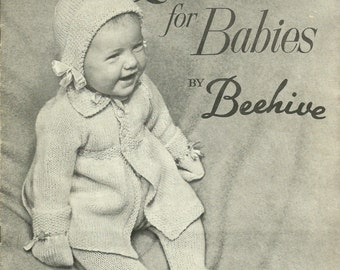 Vintage Knitting Patterns, Quickerknits for Babies by Beehive Patons Baldwin Series 76 1940s/50s
