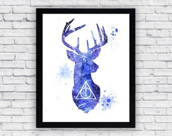 Expecto Patronum Harry Potter watercolor print, Harry Potter Printable Wall Art, Harry Potter wall decor, Harry Potter poster