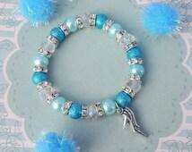 Shoe Charm Bracelet, Kids Bracelet, Crystal Jewellery, Shoe Jewelry, Children's Fashion, Blue Beaded Bracelet, Shoe Charm, High Heel Shoe