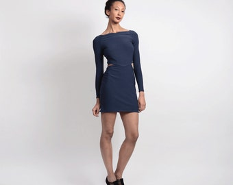 SALE Clara Mini Bodycon Party Dress with Cut Outs. Women's Long Sleeved Vampy Stretch Jersey Dress in Petrol Blue