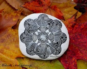 Black & White,Hand Painted Stone