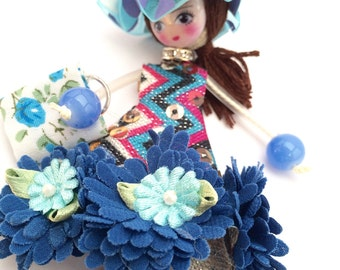 Dangly Doll bag charm, key ring, Day at the Races, gift