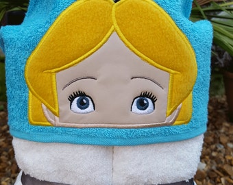 Girl In Wonderland Hooded Towel. Hooded towel for babies, children. Boys and girls hooded towel. Girl gifts.
