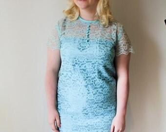 Vintage Blue Shift Dress (Size 12 - 14 UK)