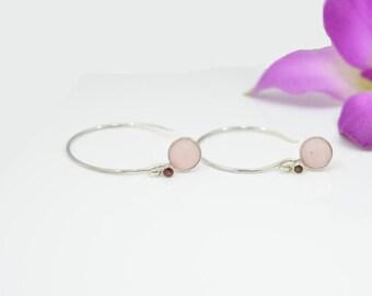 Rose Quartz Earrings, Rose Quartz Hoop Earrings, Hoop Rose Quartz Earrings, Silver Rose Quartz Earrings, Garnet Silver Hoop Earrings, Garnet