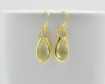 Lemon Quartz Earrings, Lemon Quartz Drop Earrings, Lemon Quartz Petite Earrings, Lemon Quartz Silver Earrings, Gold Lemon Quartz Earrings