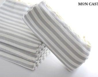 Mediterranean | Light Gray | Beach Towel | Bridesmaid Gift | Peshtemal |Turkish Beach Towel | Turkish Towel | Beach Towel | Bridesmaid Towel