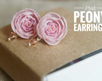 Peony wedding bridal earrings Pink peony stud flower earrings Peony jewelry Floral earrings Gift for her Bride wedding gift Floral style