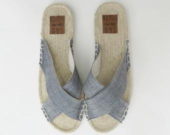 Womens chambray criss cross espadrilles - chambray sandals - criss cross sandals - womens shoes - womens sandals - womens espadrilles