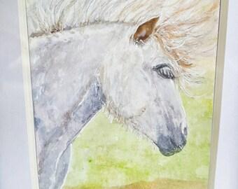 Celtic Stallion - Original Watercolor, Framed, Miniature