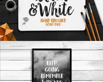 Black & White Typeface, Hand Brushed Font Duo