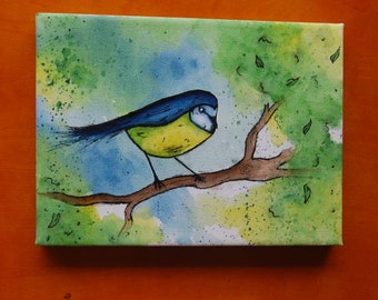 Blue-tit on branch: Mini Canvas & Easel