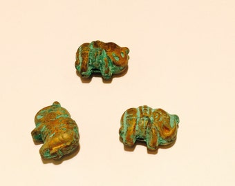 Copper elephants with real patina - 5 Pieces - #26